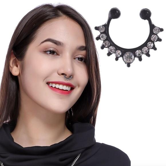 Jewelry Black Crystal Fake Septum Nose Ring No Piercing Poshmark